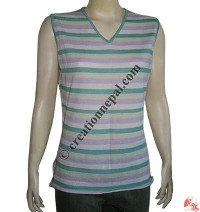 Sleeveless stripes pashmina sweater