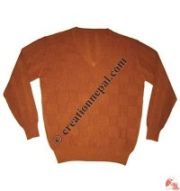 Gents V-neck squares design Pashmina sweater1
