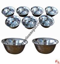 Carved white metal offering bowl set