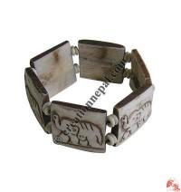 Elephant carved bone bracelet