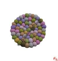 Felt balls tea coaster1