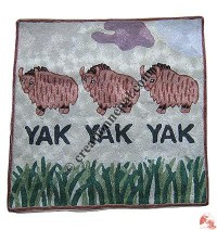 Three Yak embroidered cushion cover