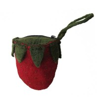 Strawberry shape felt purse