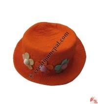 Three-flower round felt hat