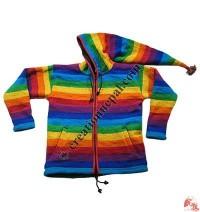 Rainbow stripes woolen jacket