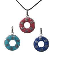 Om mani mantra circle pendant