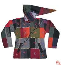 Star hand emb khaddar patch-work jacket