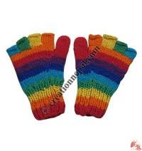 Woolen half-finger rainbow gloves