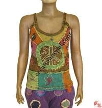 Rib cotton peace design strappy top