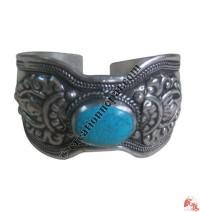 Front narrow white metal bangle