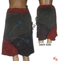 3-color stone wash rib skirt