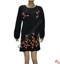 Hand emb flower fine rib dress