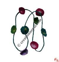 Colorful flowers felt long necklace