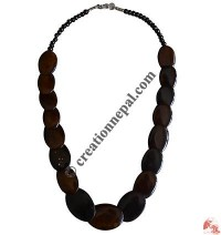 Brown flat beads necklace