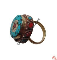 Two step design colorful finger ring