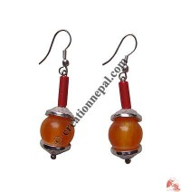 Amber beads ear ring