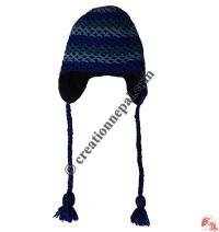 Double layer net crochet woolen ear hat 1