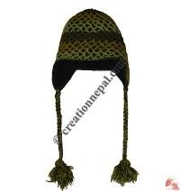 Double layer net crochet woolen ear hat 3