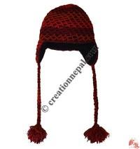 Double layer net crochet woolen ear hat 5