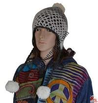 Crochet net woolen 2-color ear hat