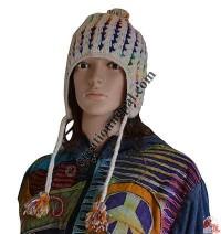 Woolen colorful design crochet ear hat