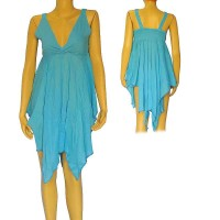 Cotton turquoise sleeveless frills dress