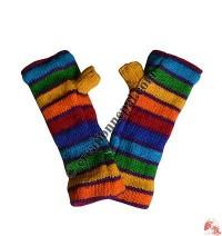 Woolen rainbow tube gloves