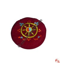 Embroidered small round cushion