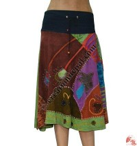 Patch-work hand emb skirt