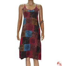 Cotton patch-work stone wash dress