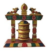 Table stand wooden large prayer wheel