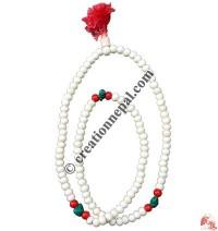 Decorated white beads Japa mala