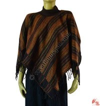 Acrylic-cotton hi-neck poncho