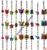 Felt beads-shapes assorted hanging set of 9