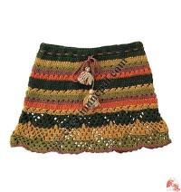 Woolen crochet stripes skirt