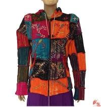 Rib patch-work hand emb jacket
