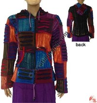 Rib razor-cut patch-work jacket