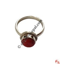 Coral stone simple finger ring