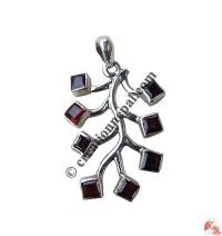 Garnet tree silver pendent