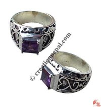 Amethyst filigree finger ring
