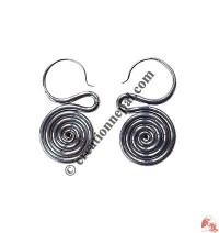 Spiral silver ear ring