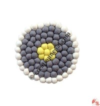 Wool felt balls plate coaster1