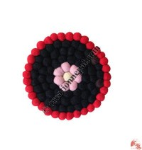 Wool felt balls plate coaster3