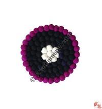 Wool felt balls plate coaster4