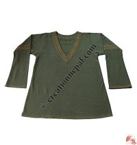 Cotton-fleece V-neck Kurtha