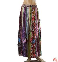 Sari silk vertical patch skirt