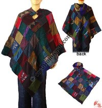 Acrylic-cotton patch work poncho