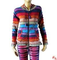Rainbow stripes rib jacket1