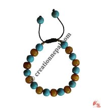 Turquoise-amber beads wristband