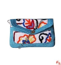 Embroidered medium flap purse